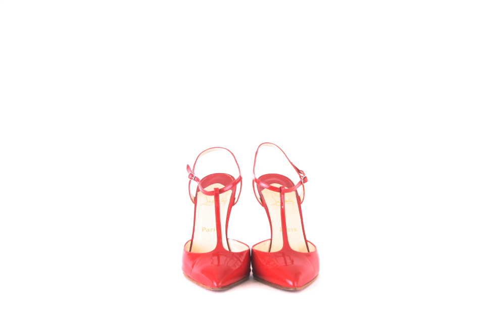 fabb46e270c Christian Louboutin Red Patent T Bar Shoes Size 40